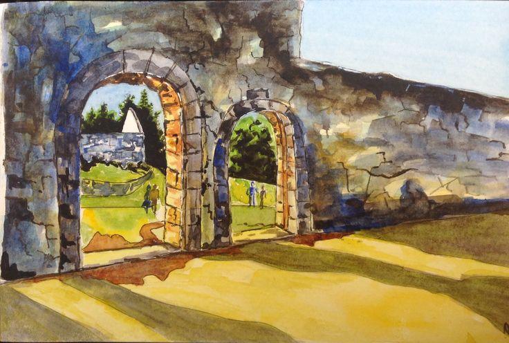 Stone Wall Arches  - Watercolour