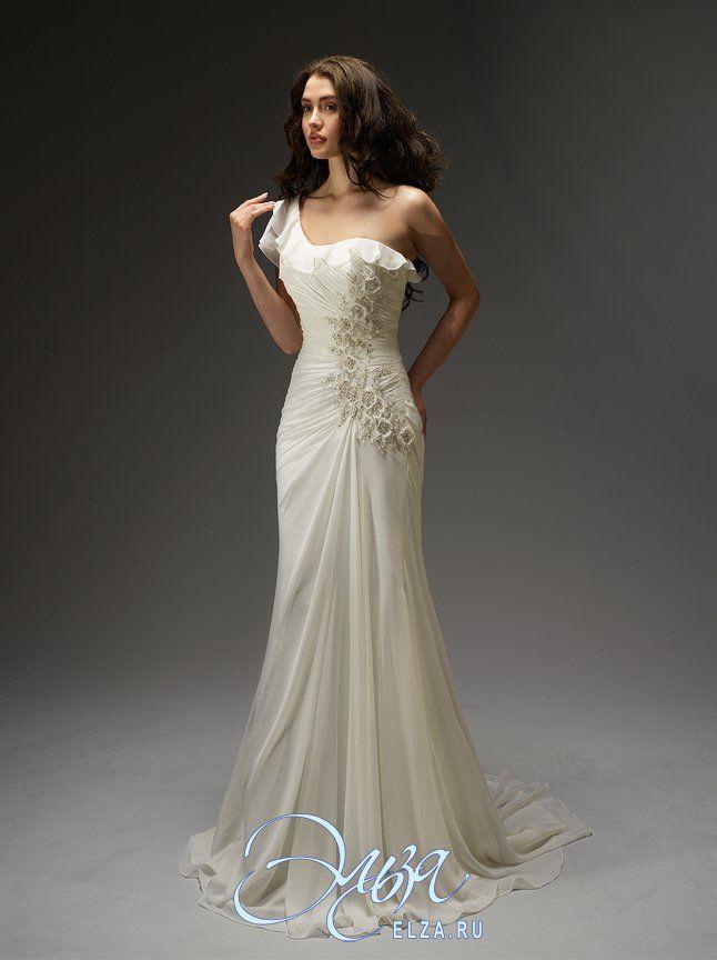 Cвадебное платье 11346: фасон годе (русалка, рыбка, трампет), длинное платье, с асимметричным вырезом, с непышной юбкой, со шлейфом, модель до 2016 года, с одним рукавом, платье, в ограниченном количестве, на одно плечо, основная ткань: органза