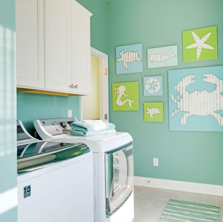 beachy turquoise laundry room