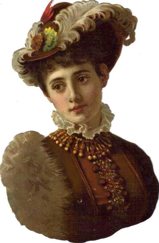 Victorian Scraps  —   Lovely Lady in Brown w Feathers , c.1880   (512x781):