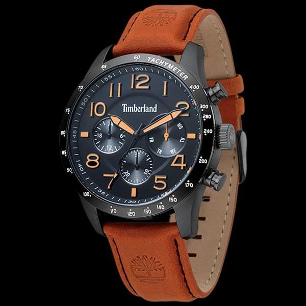 BLACK DIAL TAN LEATHER WATCH