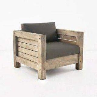 Idéia de poltrona wood. Pode ser feita com madeira de demolição ❤ Faça seu orçamento conosco! #ecodesign #Bunkerecodesign #poltrona #sofa #wood #designinterior #design #tendencia #woodjob  #madeira #design