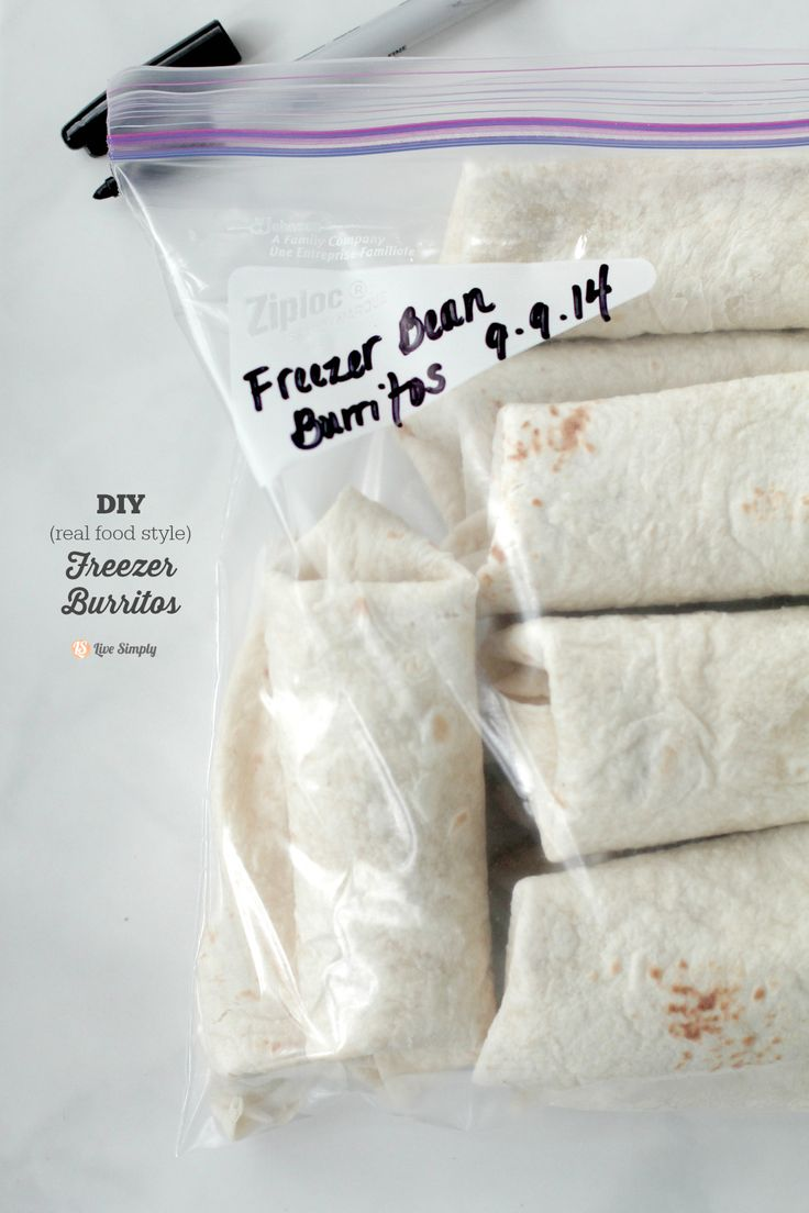 So easy! Make 12 burritos in just minutes and freeze for later. All real food ingredients and healthy!! My husband and kids love these.  Freezer Bean Burritos (Real Food Style)   Live Simply
