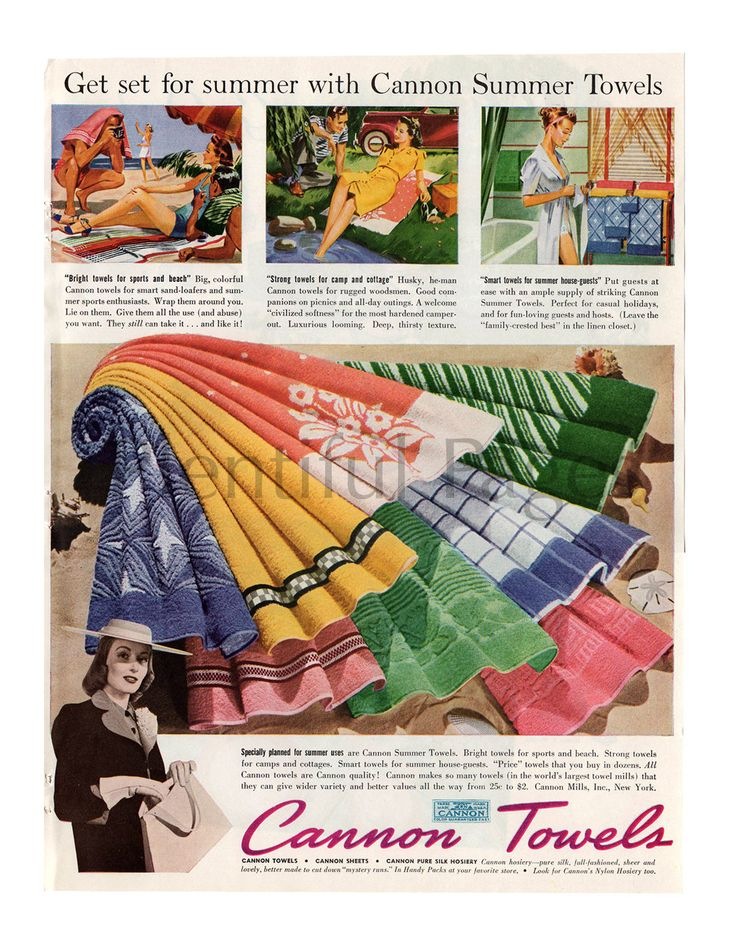 1940 Cannon Towels Vintage Ad, 1940's Housewife, Retro Ad, Advertising Art, 1940's Family, Beach Towels, Retro Decor, 1940's Fashion. by PlentifulPages on Etsy https://www.etsy.com/listing/237446223/1940-cannon-towels-vintage-ad-1940s