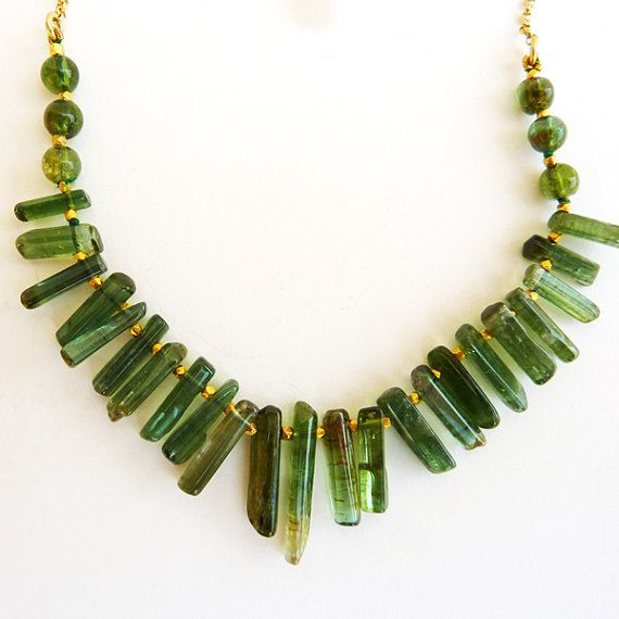 Green Tourmaline and 18K gold necklace  Green by RuthaJewelry, $775.00