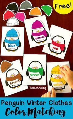 FREE color matching activity with penguins dressed in winter clothes. Great for toddlers and preschoolers learning colors and color words. Mix and match the penguins' hats to create different outfits.