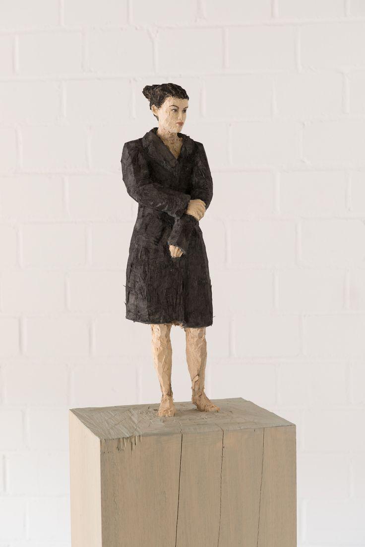Stephan Balkenhol, Woman in green loden coat, 2013, Coloured wawa wood, 168 x 24 x 24 cm | 66.14 x 9.45 x 9.45 in, # BALK0003
