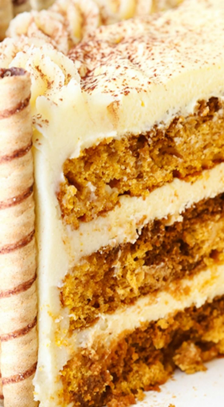 Pumpkin Tiramisu Layer Cake ~ With layers of moist pumpkin cake, Kahlua and espresso, tiramisu filling and a mascarpone frosting, it is to die for!
