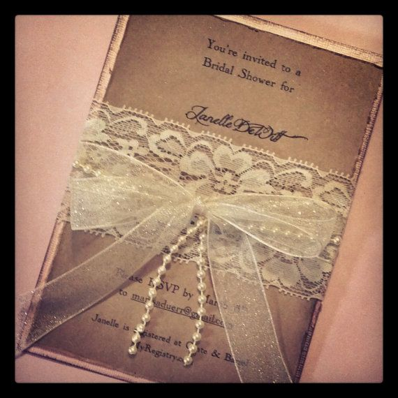 Lace and pearl hand made invitation  by MemoryMakersDesigns, $6.00