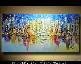 Mur de peinture abstraite, peinture acrylique, empâtement épais Texture moderne couteau à Palette Peinture décoration murale, art contemporain par Chen 512