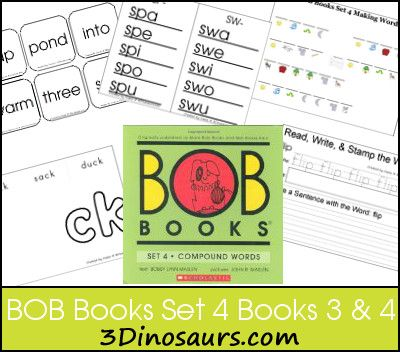 BOB Books Set 4 Books 3 & 4 - Great printables for learning blends - 3Dinosaurs.com