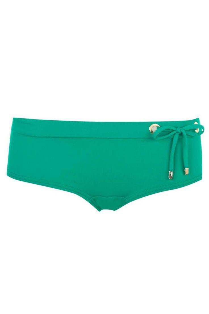 Green cheeky boy short style bikini bottom. Gold grommett detailing with tie string detail on left side.   Bikini Bottom by Huit. Clothing - Swimwear - Two-Piece Canada
