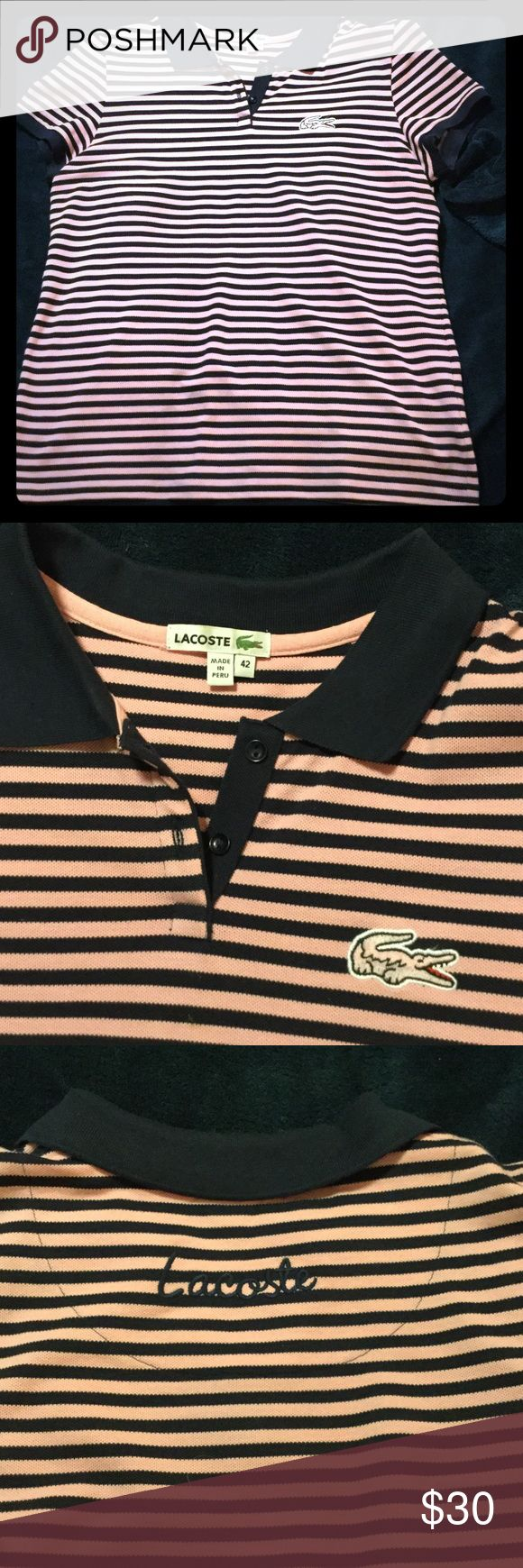 Lacoste polo shirt embroidered logos size 42 Pink and navy blue special edition Lacoste polo shirt with oversized alligator logo on front and embroidered logo on upper back. Size 42/L Like NEW Lacoste Tops Tees - Short Sleeve