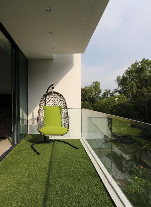 Grass carpet and egg swing for balcony