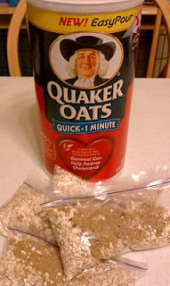 DIY Instant oatmeal packs -  ~60 packs: 1/4-1/2 cup quick oats ~1tbsp preferred sweetener Optional: cinnamon, raisins, ect.