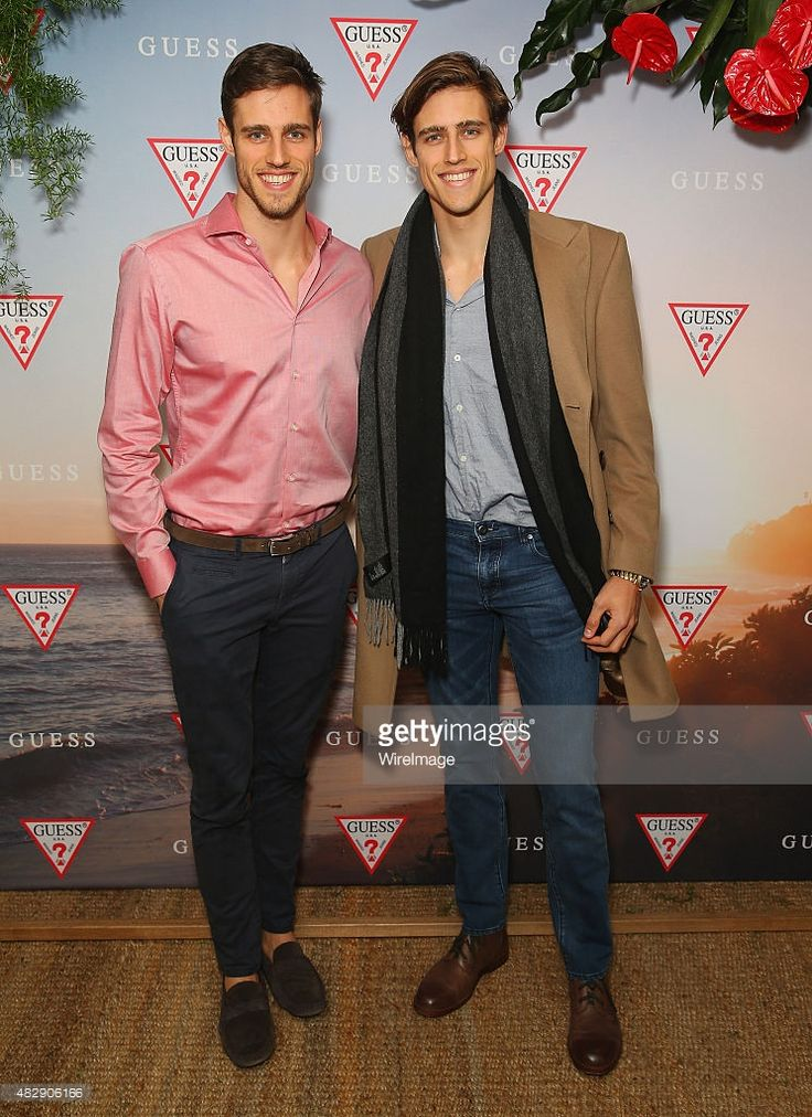 Zac Stenmark and Jordan Stenmark pose during the launch of the Guess Spring 2015 Collection at The Butler in Potts Point on August 4, 2015 in Sydney, Australia.