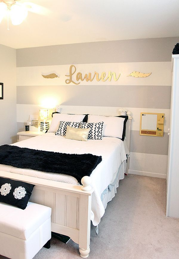 Teen Girl's Room   White and Black Bedding   Gold Accents   Grey Striped Wall