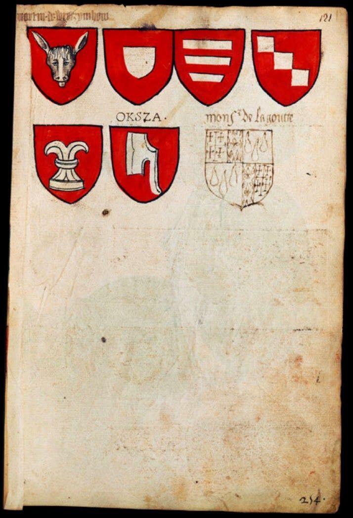 le seigneur Martin de Wroczymhow (Martin de Wrocimowice)   une rencontre d'âne     sans nom  Janina                                      sans nom  Korczak                                   sans nom  Drya                                            sans nom  Pirzchala                       ..... OKSZA       Okza   inscription rajoutée postérieurement sur le manuscrit    Monssieur  de la Goutte - écu rajouté postérieurement sur le manuscrit XVIe/XVIIes