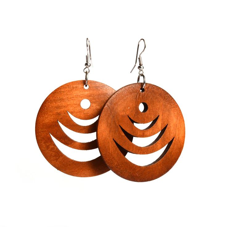 Brown layered crescent cut out design wooden hoop drop earrings