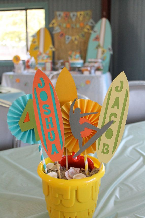 beach party centerpiece / surfer party centerpiece by PaperoStudio