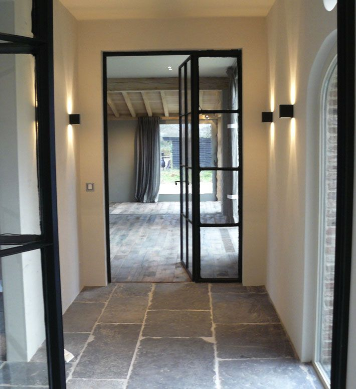 gorgeous metal framed windows and doors - flagstones and brick in soft grey tones - Moka Projects