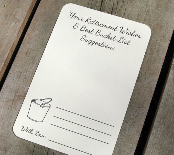 Set of 12 Retirement Wishes Advice Bucket List Suggestion Cards Tags for Retirement Party / Graduation Party / Graduation Wishes