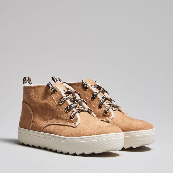 Ocieplane buty na platformie, BUTY, beŻowy, CROPP