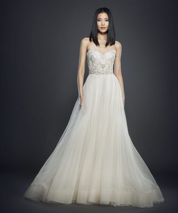 This Season Offers Sculptured Trumpet Gowns With Shear Panels To Frothy Ball Layered Shimmering Fabrics The Lazaro Bride Is Never Forgotten
