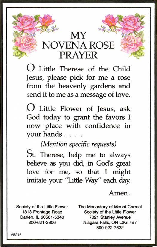 St. Theresa Novena Rose Prayer- my favorite prayer I learned in OLL!