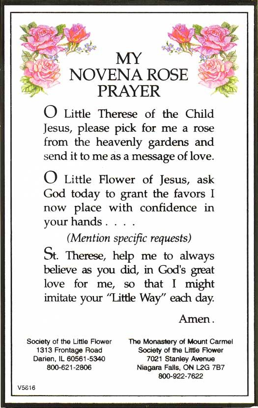St. Theresa Novena Rose Prayer- my favorite prayer I learned in OLL!