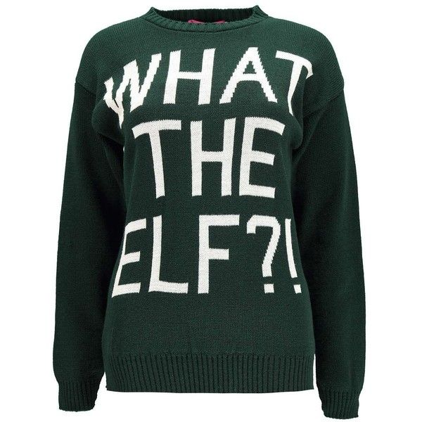 Boohoo Judy What The Elf?! Christmas Jumper featuring polyvore, fashion, clothing, tops, sweaters, shirts, jumpers, jumpers sweaters, green jumper, green sweater, jumper shirt and christmas tops