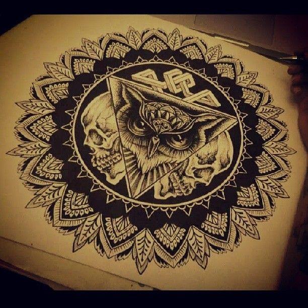 """@camsyvalencia's photo: """"#mandala #mandalas #owl #owls #skulls #skull #skullart #patterns #geometrics #pencils #pens #sharpee"""""""