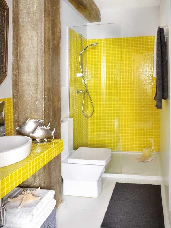 Reforma Baño Muy Pequeno:Yellow and Brown Bathroom