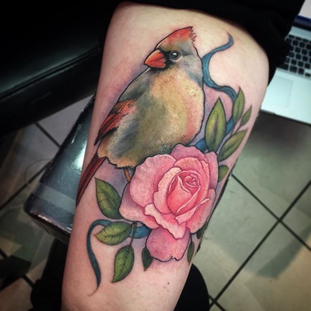 Little bird from yesterday. Female cardinal,  pink rose , and turquoise cancer ribbon. Skin is a little angry , but it's still pretty :) @fusion_ink #cancerribbon #rosetattoo #birdtattoo #cardinal #rose