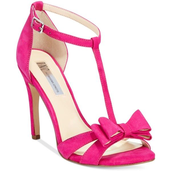 Inc International Concepts Women's Reesie Bow T-Strap Sandals, ($90) ❤ liked on Polyvore featuring shoes, sandals, deep fuschia, inc international concepts, bow sandals, t-bar sandals, t bar shoes and fuchsia shoes