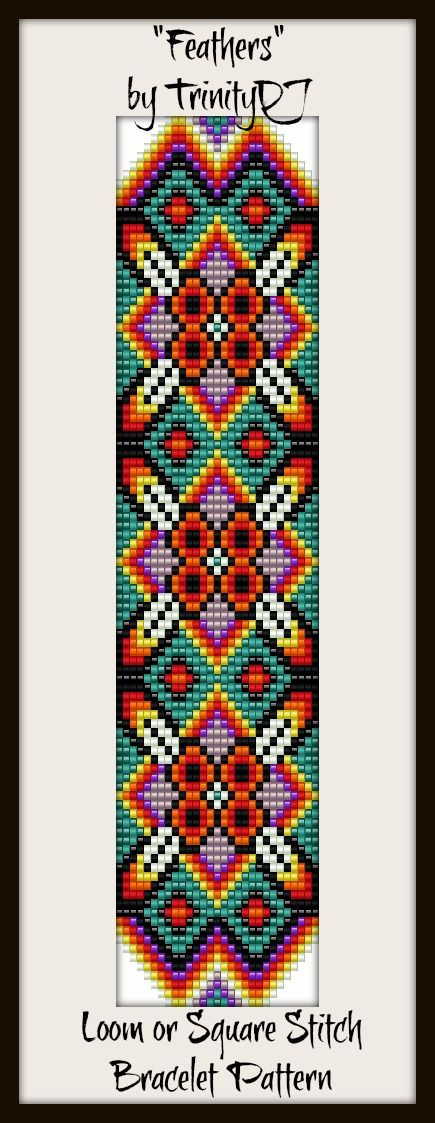 """Feathers"" - Loom or Square Stitch Bracelet Pattern - In The RAW. Please follow this link for more info: https://www.etsy.com/listing/156575087/bp-loom-020-feathers-loom-or-square"
