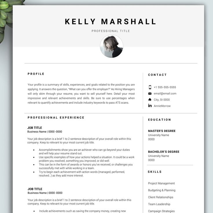 College Graduate Resume Template for Word MAC and PC