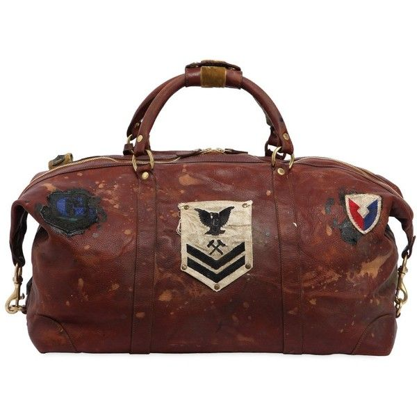 Ghurka Surplus Men Cavalier Ii Leather Duffle Bag W/ Patch ($2,980) ❤ liked on Polyvore featuring men's fashion, men's bags, brown, mens leather duffel bag, men's duffel bags, mens duffle bags, mens leather duffle bag and mens bag