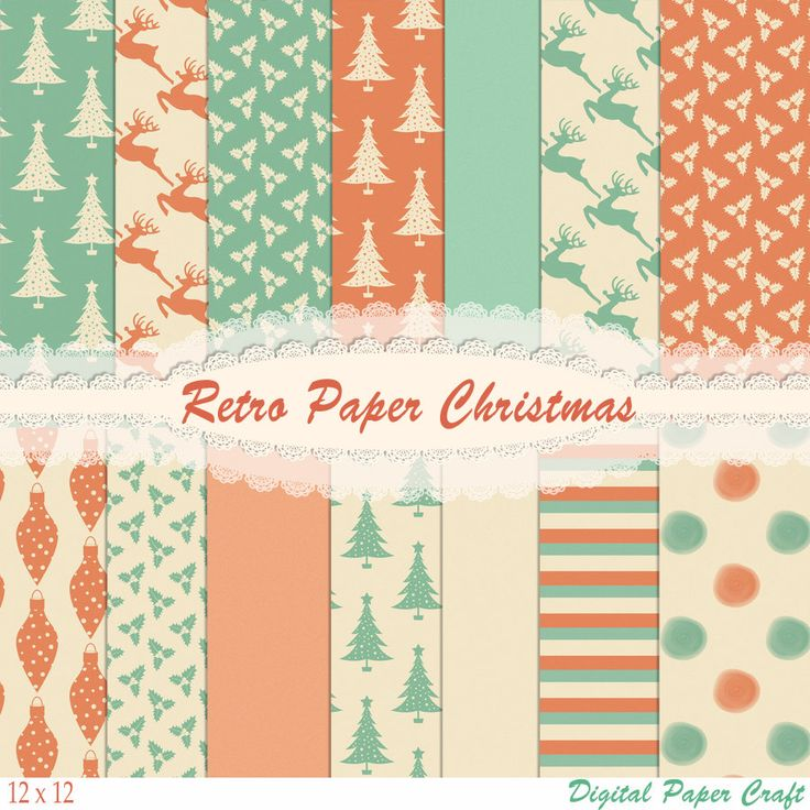 Retro Christmas papers, Vintage christmas, 70s Christmas papers, Christmas paper, Instant Download, Scrapbook paper,  Christmas Scrapbook by JustDigitalPapers on Etsy