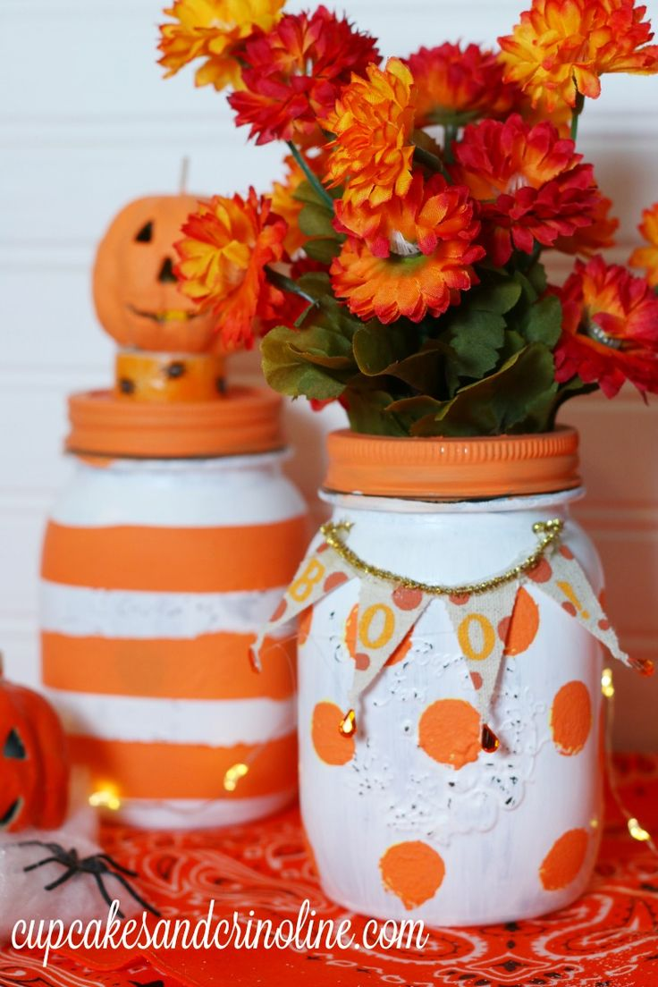 Halloween Polka Dot Mason Jar vase from cupcakesandcrinoline.com