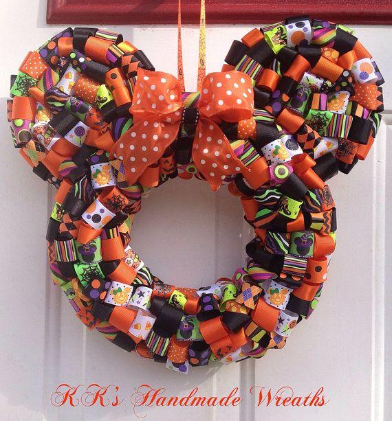 Minnie Mouse Halloween Ribbon Wreath on Etsy, $40.00