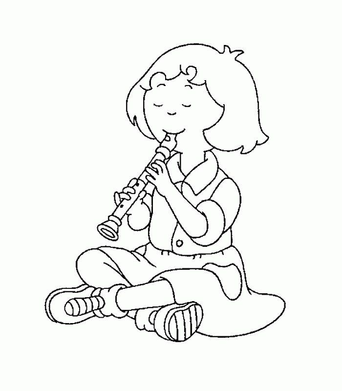 Caillou Coloring Pages Sarah Playing A Flute Zoo Coloring Pages