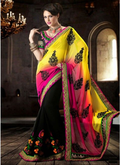 Elegant Black With Pink & Yellow Ombrey Georgette #Saree With Resham Thread Work