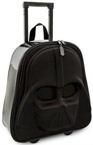 Mala de viagem Darth Vader: para os fãs da saga nerd que gostam de viajar. As rodinhas possuem uma luz vermelha que acende por energia cinética.