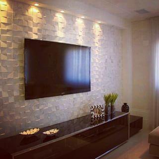 Decor revestimentos 3d sala de estar salas de tv y tv for Revestimento 3d sala de estar