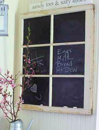 UPcycled repurposed Old Window Frame Chalkboard by grinsngiggles12