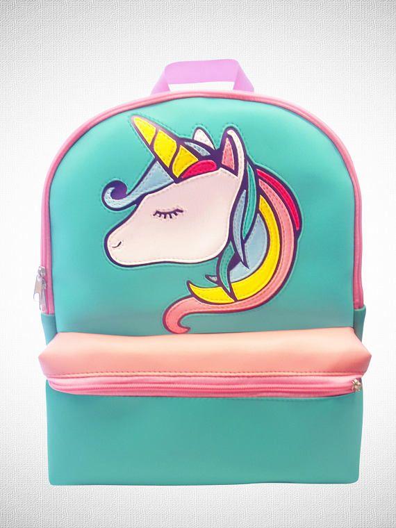 Mochila de unicornio arco iris pastel