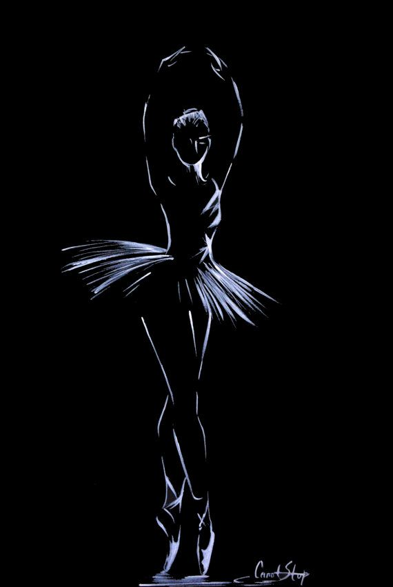 Ballerina Drawing Original Drawing Art White on Black by CanotStop