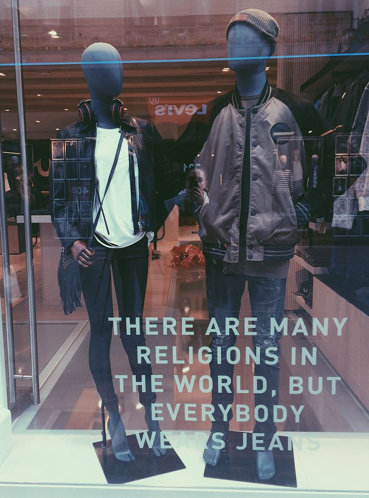 True Religion window display & OLD MODERN Collection by More Mannequins #FemaleMannequins #MaleMannequins #fashion #jeans