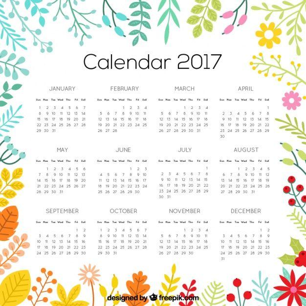 Florido calendario 2017 Vector Premium